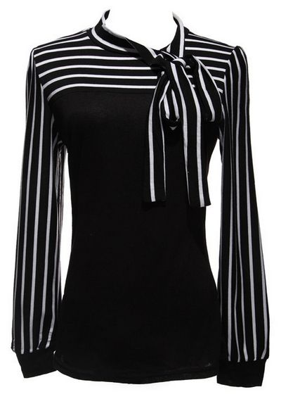 Women's Blouse Black White Striped Bowknot Tops Long Sleeve