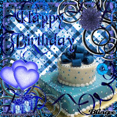 Happy Birthday Cake With Blue Roses