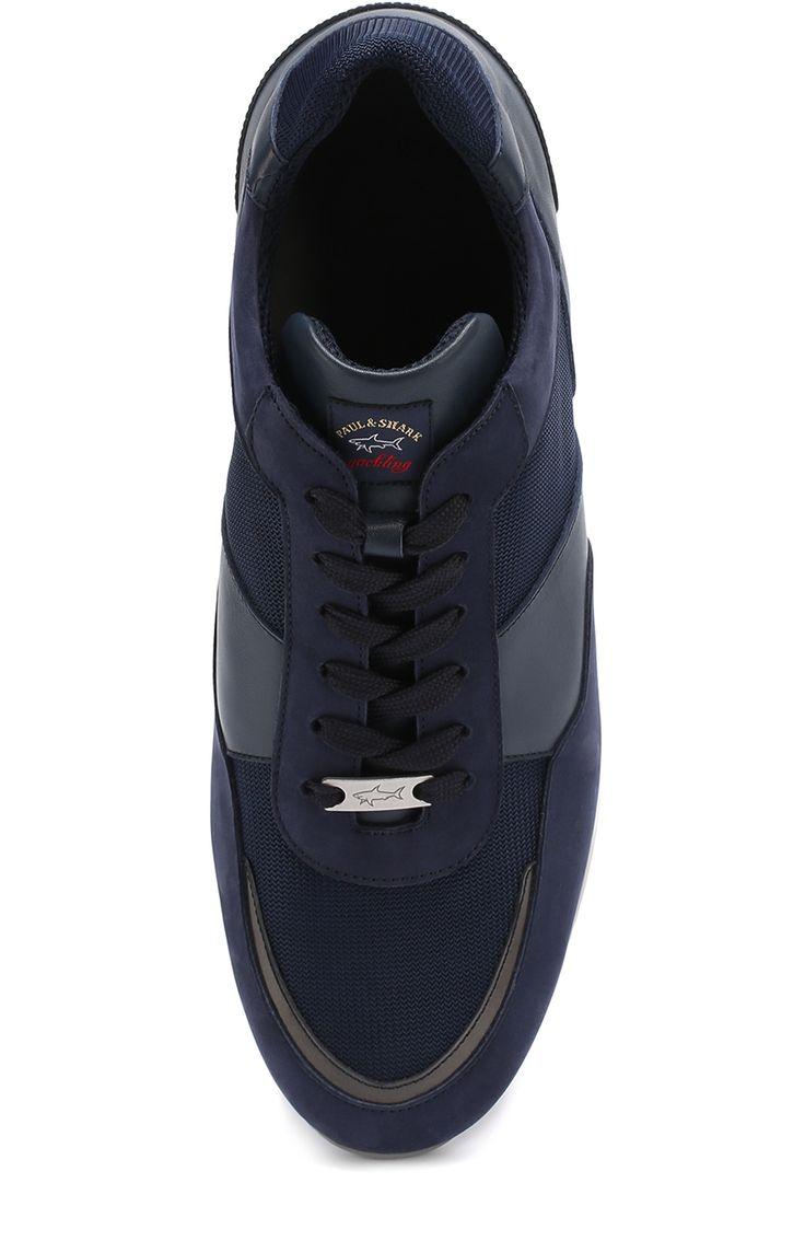 Мужские темно-синие кожаные кроссовки на шнуровке в текстильными вставками Paul&Shark, сезон SS 2017, арт. E17P8033 купить в ЦУМ | Фото №5