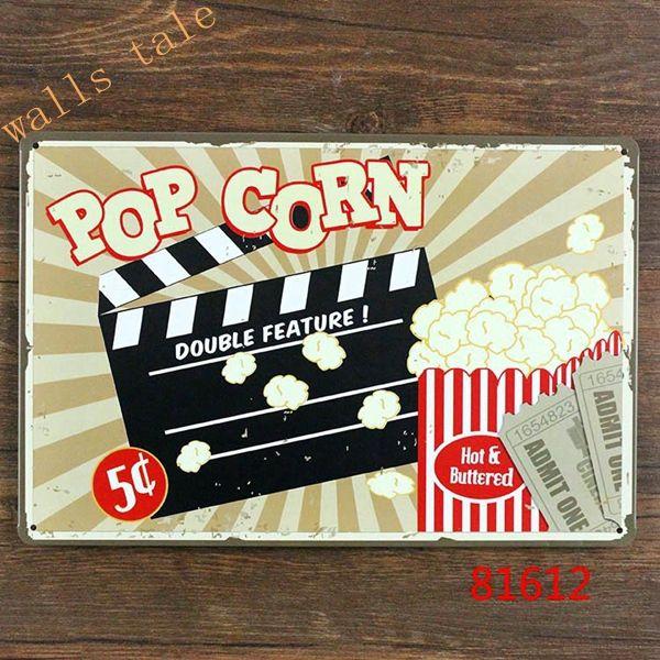 Cheap retro metal cartel de chapa pop corn para cine en for Decoracion retro pop