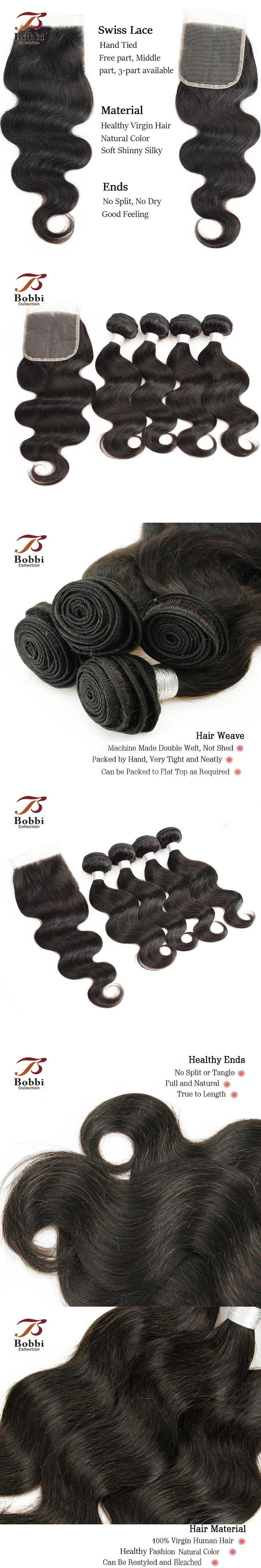 Brazilian Body Wave Hair Weave Bundles With Closure Brazilian Virgin Hair Extensions 4 Bundles Human Hair Weft BOBBI COLLECTION