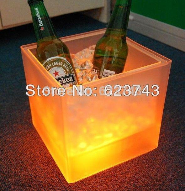 Plástico levou balde de gelo, Mudança de cor de plástico balde de gelo, Refrigerador de gelo luminoso, Brilho barril de cerveja, Barril de vinho alishoppbrasil