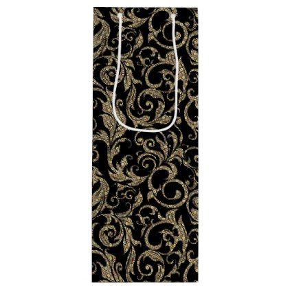 Cute vintage black brown floral pattern wine gift bag - craft supplies diy custom design supply special