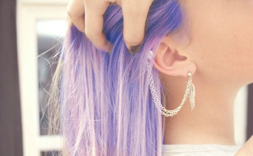 two favorite things- ear cuffs and purple hair