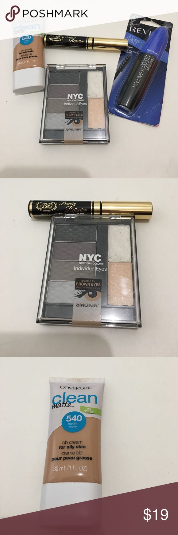 New makeup bundle, revlon, NYC, covergirl Makeup bundle. NEW: covergirl clean matte B.B. Cream in 540 Medium, revlon volume + length mascara in blackest black, beauty reflection black liquid eyeliner. SWATCHED: NYC eyeshadow palette. If need any pictures  please let me know, I'll be glad to do it.   🛫We ship the same or the next day.  🚭Smoke free closet ❌Pet free closet 📦Bundle to save some cash 🗳Make an offer, if it's too low I'll counterfeit. Revlon Makeup Foundation