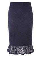 Womens Navy Lace Peplum Skirt- Blue