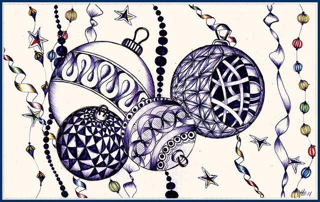 Zentangle - Kerstboom Ornamenten door Helena