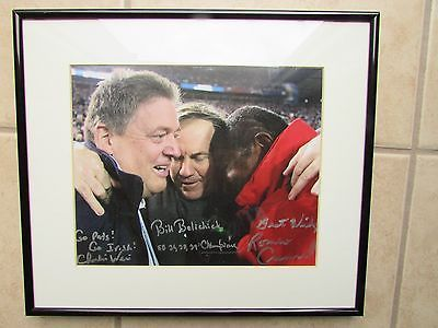 ROMEO CRENNEL CHARLIE WEIS BILL BELICHICK SIGNED PHOTO 8X10 NEW ENGLAND PATRIOTS