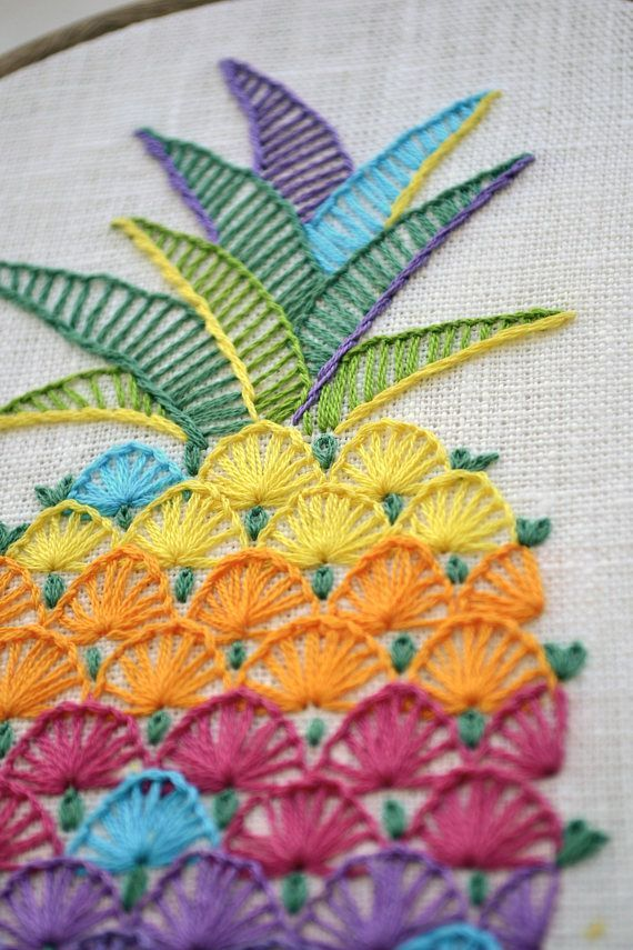 This cheery colorful design will look great on any fabric of neutral colors.  Ideas for use: linen and denim clothing, pillow cases, kitchen linens, aprons, curtains, shopping linen bags, quilt blocks, book covers, hoop art, gadget cases and covers, wall hanging... #EmbroideryIdeas