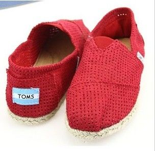 Cheap Toms Red Hollow Shoes on sale