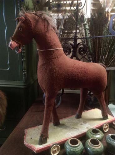 Oud Brocante Antiek Speelgoed Paard Shabby