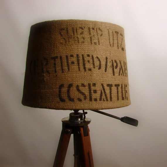 Eco Friendly Holiday Gift Burlap Coffee Sack Lamp Shade Upcycled Industrial Home Decor