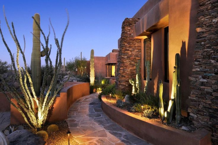 Combined Lighting - lighting columns and designed to cacti, accent lighting