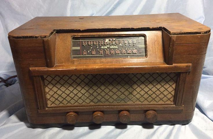 Vintage 1947 Air King Tube Radio Wood Case Model 4604-D For Parts/Restoration #AirKing