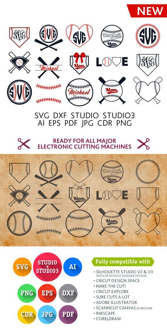 Baseball SVG Cut Files - Monogram Frames SVG DXF Eps Studio Studio3 Png Pdf Jpg Ai Cdr cuttable files for Silhouette Studio, Cricut, Cameo