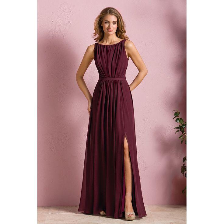 Burgundy bridesmaid dresses scoop sleeveless side split for Burgundy wedding dresses plus size