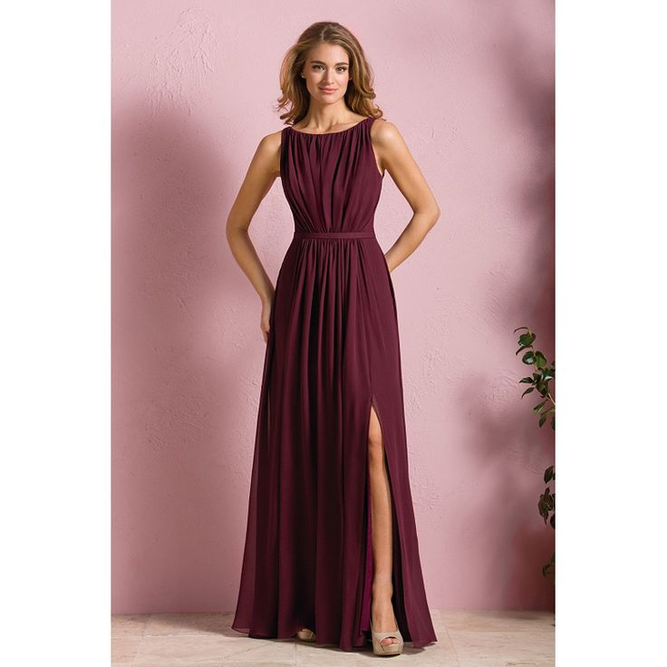 Aliexpress.com : Buy Burgundy Bridesmaid Dresses Scoop Sleeveless Side Split Sweep Train Pleats Chiffon Long Bridesmaid Dresses Cheap Plus Size 2016 from Reliable dress awesome suppliers on Life&Peace Dress Store   Alibaba Group