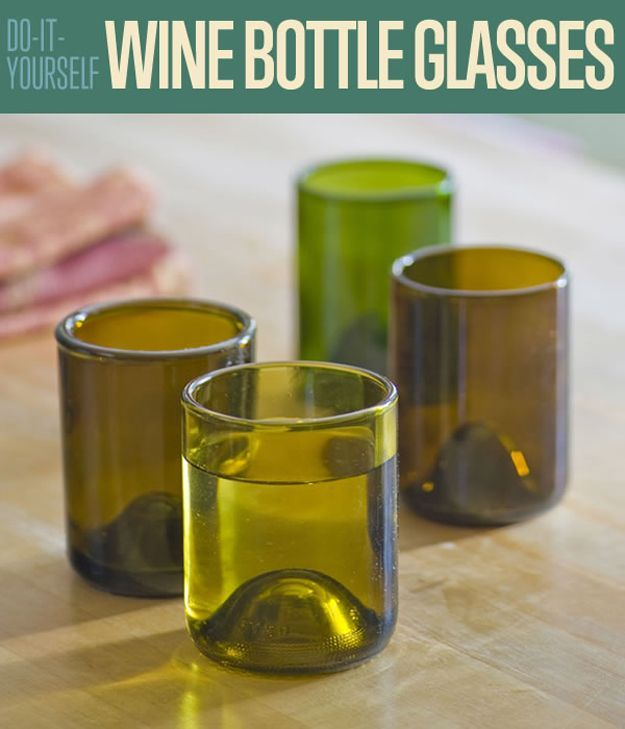 DIY Wine Bottle Glasses | How to Cut Wine Bottles by DIY Ready at http://diyready.com/diy-wine-bottle-glasses-how-to-cut-glass/