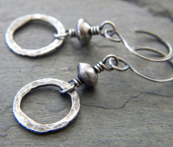 Sterling Silver Circle Link Earrings Oxidized Hammered Metal Ring Handmade Artisan Jewelry