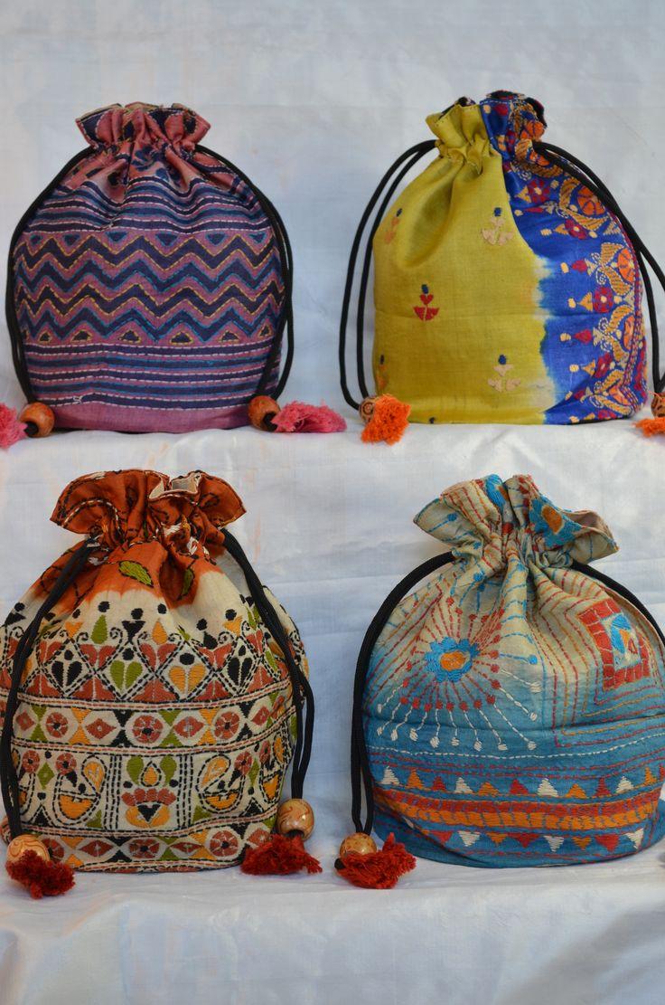 Kantha work Potli bags.