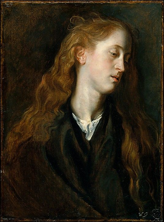 Study Head of a Young Woman  Anthony van Dyck, 1618-20. Oil on paper, laid down on wood