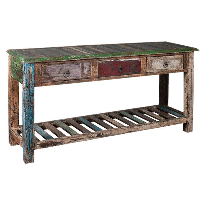 Reclaimed Wood Console Table With 3 Drawers And A Weathered Multicolor  Finish. Product: Console TableConstruction Material: Reclaimed Mango Wood  And ...