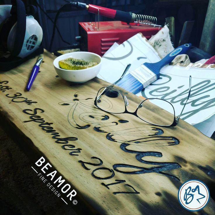 Another #weddingkeepsake underway #rusticsigns #rusticwoodsign #woodsigns #weddingsign #personalisedsigns #mancave #pyrography #etsy #beamorfinedesign #customsign #receptiondecor