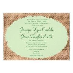 Rustic Country Burlap Sage Green Wedding Invitations #wedding