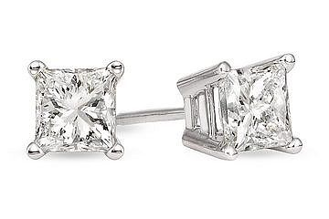 1 Carat Diamond Princess Cut Earrings...got these for our 25th anniversary and Im scared to ware them!!