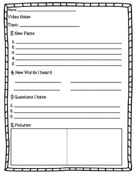 Here are three different forms for your students to take notes on educational videos you watch in class.