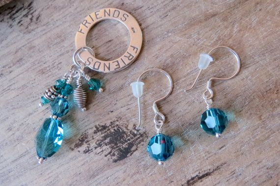 FRIENDS pendant and earrings set sterling by CreativeWorkStudios