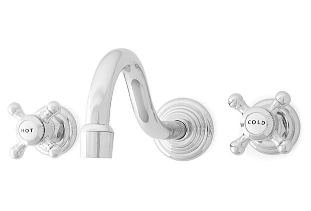 Stratford Wales Wall Faucet, Chrome on OneKingsLane.com.  Watermark Designs.  $349.  Girl's baths?