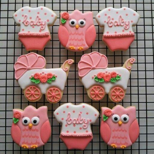 Girl Baby Shower Cookies Owl Onesie Pram Flower