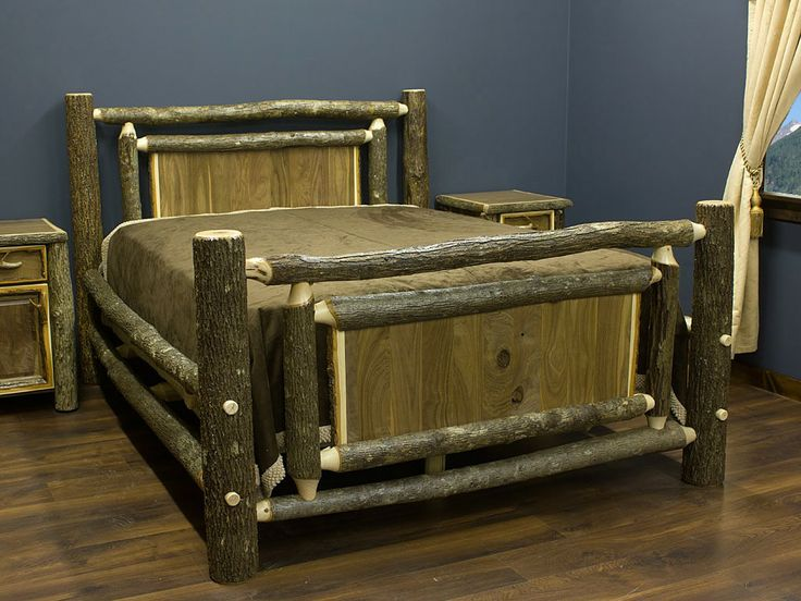 Real Walnut And Hickory Rustic Bed. Log FurnitureUnique ...