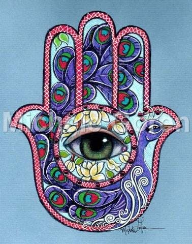 Purple Peacock Hamsa Print by MichelesJudaicaArt on Etsy, $95.00
