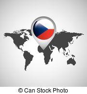mapa, checo, bandera, república, mundo, indicador