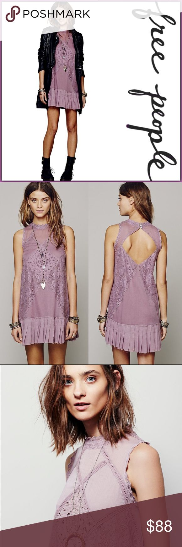 NWT Free People Angel Lace Tunic Mini Dress ➖NWT ➖BRAND: Free People ➖SIZE: Medium ➖STYLE: Angel Lace Dress In Elderberry : new with tags - pieced together Lace and crochet dropwaist dress with raw edge pleated bottom hem. Featuring a high collar neckline and open back cutout detailing. Lined with a 2 button closure at the back of the neck.  ➖MATERIAL: 100% cotton   Homecoming prom short club cocktail club tank    ❌ NO TRADE    Entropycat Free People Dresses Mini