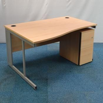 Beech 1400x1000 Wave Desk Pedestal Used Office Furniture For Uk