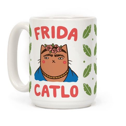 """This punny art history inspired cat mug reads, """"Frida Catlo"""" and is a perfect mug for any art history and cat lover alike! Show off your funny side with this classical painter coffee mug!"""