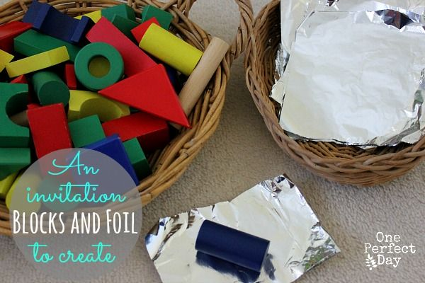 Set up a simple invitation to play with building blocks and kitchen foil. Foil is a wonderful material for sensory play and combing it with classic building blocks can lead to so much fun and discovery. I set up a simple invitation to play with two baskets – one containing colourful building blocks and the …