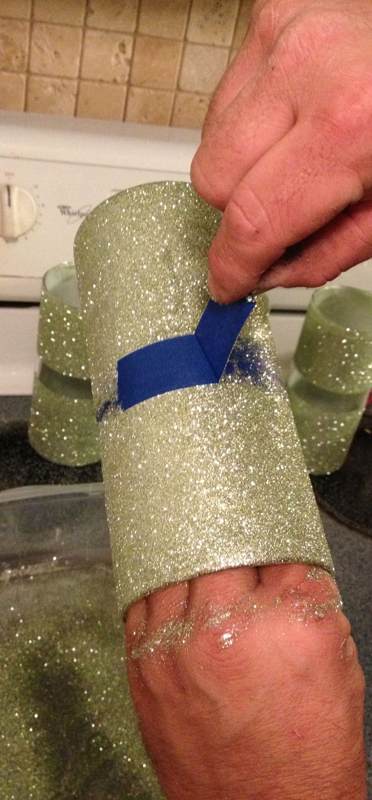 Glitter Flower Vases Table Decor. 1. Tape Off Line With Painters Tape; 2