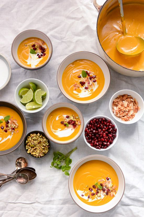 This vegan roasted butternut squash and coconut soup inspired by Ottolenghi is seasoned with Middle Eastern spices and coconut milk.