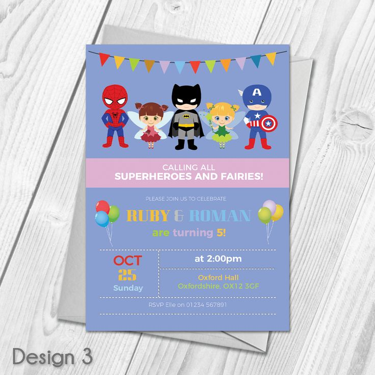 Personalised Fairy Princess and Superhero Birthday Party Invitations & Envelopes  Custom Made With Your Own Text & Photo  All orders include FREE UK 1st Class Royal Mail delivery