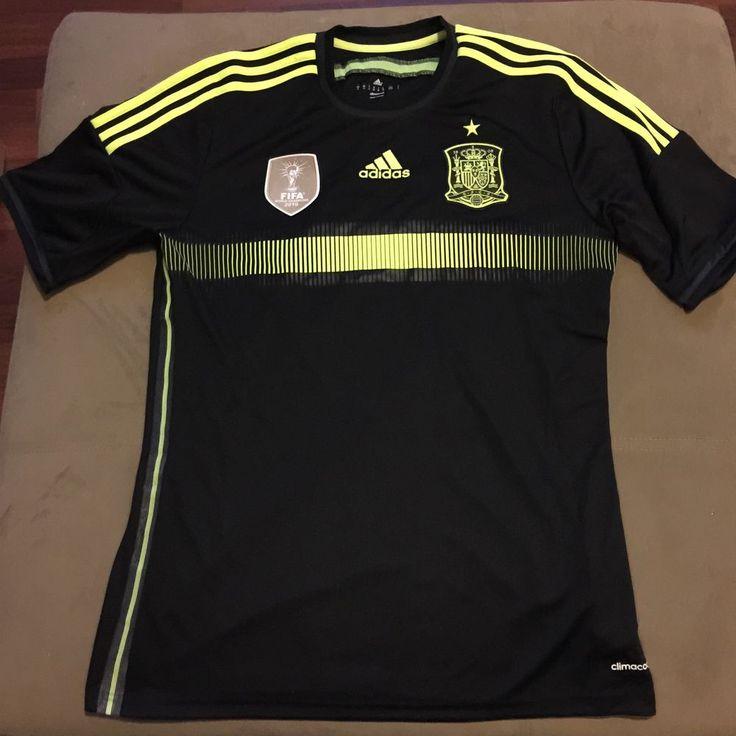 Spain Adidas FEF World Cup 2014 Home Men's Soccer Football Shirt F39821 Black  #adidas #Spain