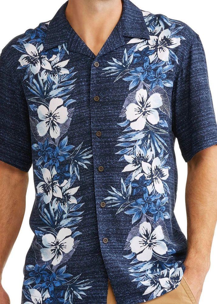 61c22307 George Big Mens Floral Hibiscus Hawaiian Camp Shirt Up to 5X Blue #George # Hawaiian