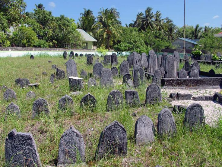 Tombstones fill the compound of the Medhe Miskih in Hithadhoo village on Addu Atoll in the Maldives. Those with the pointed tops are for males, those with rounded tops for females.