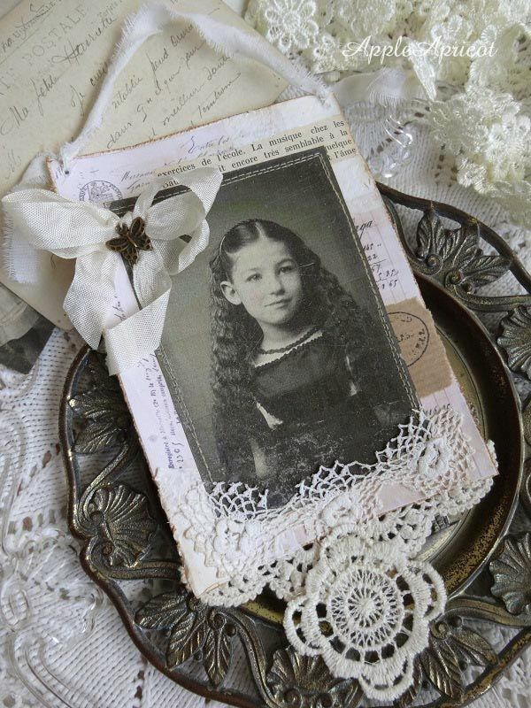 shabby white card by AppleApricot: Another of my wall hanging cards + freebie