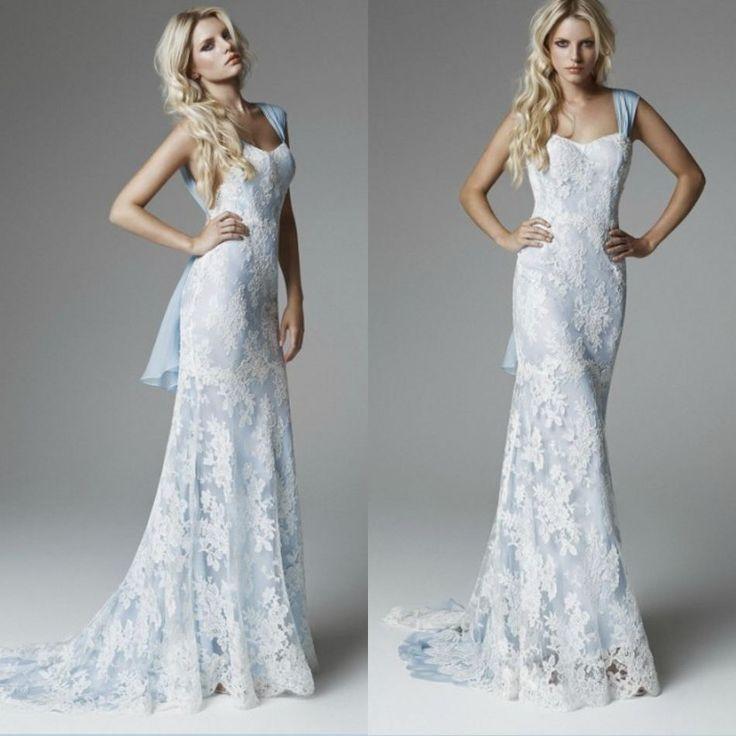 2013 Charming White Lace Appliqued Sky Blue Wedding Sheath