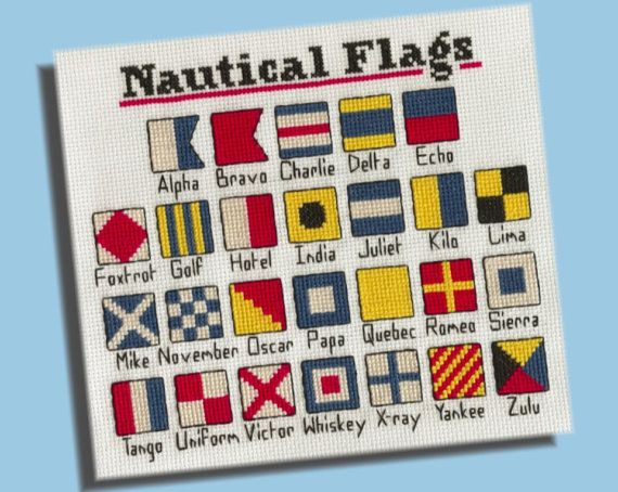 The International Code of Signals became the standard of communication between ships in the mid-19th century, but the flags themselves had already been in use for at least a hundred years previous. The modern flag lexicon includes 26 alphabet flags, pictured here, as well as numerals and contextual pendants that can be combined to produce thousands of detailed messages without ever spelling out a single word.  102 x 94 stitches  ~*~*~*~*~  This pattern is available for INSTANT DOWNLOAD…
