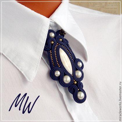 """Кулон-галстук """"Парижская ночь"""" - тёмно-синий,кулон-галстук,сутажный кулон"""